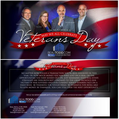 Veterans Day Direct Mail Postcard - Front and Back